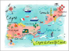 Gallery print  Capri and Amalfi Coast Map - Elisandra Sevenstar
