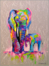 Premium poster  Elephant mother with child - Olha Darchuk