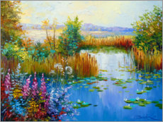 Wood print  Flowers by the pond - Olha Darchuk
