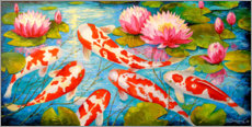 Wood print  Koi in the pond - Olha Darchuk