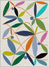 Wood print  Leaves arrangement - Jenny Frean