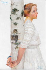 Wall sticker  Lisbeth at the birch trunk - Carl Larsson
