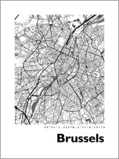 Premium poster  City map of Brussels - 44spaces