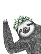 Wood print  Sloth with eucalyptus crown - Valeriya Korenkova