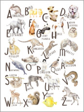 Aluminium print  Animal alphabet (English) - Wandering Laur