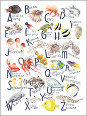 Wood print  Sea animals from A to Z - Wandering Laur