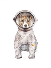 Wood print  Laika the space pup - Wandering Laur