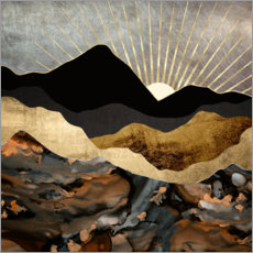 Premium poster Mountain landscape in copper and gold