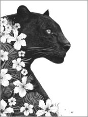 Premium poster  Panther with flowers - Valeriya Korenkova