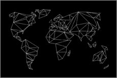 Premium poster  Geometric world map, black - Studio Nahili