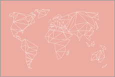 Gallery print  Geometric world map, rose - Studio Nahili