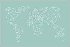 Acrylic print  Geometric world map, turquoise - Studio Nahili