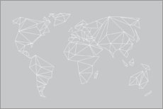 Wood print  Geometric world map, gray - Studio Nahili