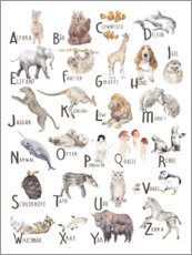 Aluminium print  Animal alphabet (German) - Wandering Laur