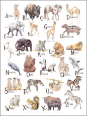 Acrylic print  Animal alphabet (French) - Wandering Laur