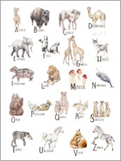 Wall sticker  Animal alphabet (Italian) - Wandering Laur