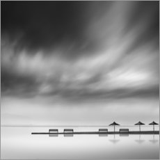 Canvas print  Benches and umbrellas - George Digalakis