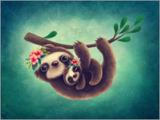 Premium poster Cute Sloth with Baby