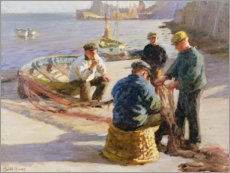Premium poster Newlyn Harbour: Mending the Nets