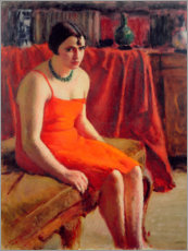 Premium poster Seated Woman in a Red Dress