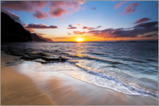 Premium poster  Sunset over the Na Pali coast - Russ Bishop