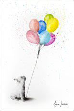 Premium poster French bulldog with balloons
