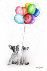 Acrylic print  Frenchie and Siamese with colorful balloons - Ashvin Harrison