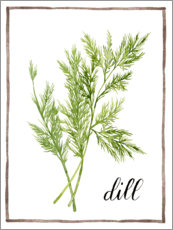 Acrylic print  Herbal illustration dill - Grace Popp
