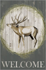 Wood print  The stag says welcome - Grace Popp