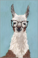 Wood print  Lama with glasses I - Victoria Borges