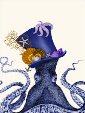 Wood print  Octopus with hat - Fab Funky