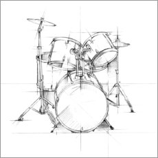 Wood print  Drum Sketch - Ethan Harper