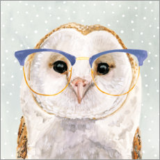 Premium poster  Owl with glasses - Victoria Borges