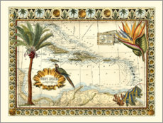 Wall sticker  Tropical Map of West Indies - Vision Studio