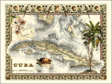Premium poster  Tropical Map of Cuba - Vision Studio