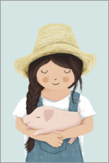 Gallery print  Girl with piglet - Sandy Lohß