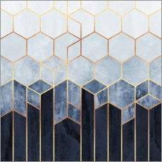 Canvas print  Blue hexagons - Elisabeth Fredriksson