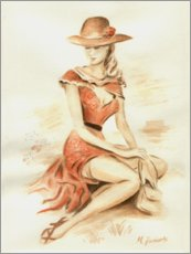 Canvas print  Elegant lady with hat - Marita Zacharias