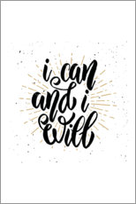 Wall sticker  I can and I will - Typobox