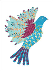Wood print  Colorful dove - Kerstin Ax
