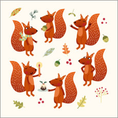 Wood print  Squirrel Party - Nic Squirrell