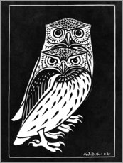 Premium poster  Two owls - Julie de Graag