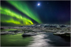 Premium poster  Moon and aurora borealis