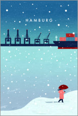 Wood print  Hamburg in winter - Katinka Reinke