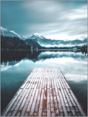 Canvas print  Wooden footbridge in the mountain lake - Lukas Saalfrank