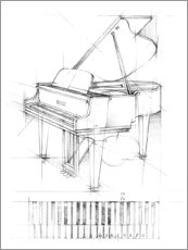 Wood print  Piano Sketch - Ethan Harper