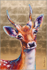 Foam board print  Golden deer - Renate Berghaus