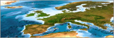 Premium poster Europe map with sea depths