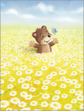Canvas print  Cute bear and butterfly on a flower meadow - Stefan Lohr