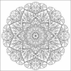 Colouring poster  The flower mandala - Heike Langenkamp